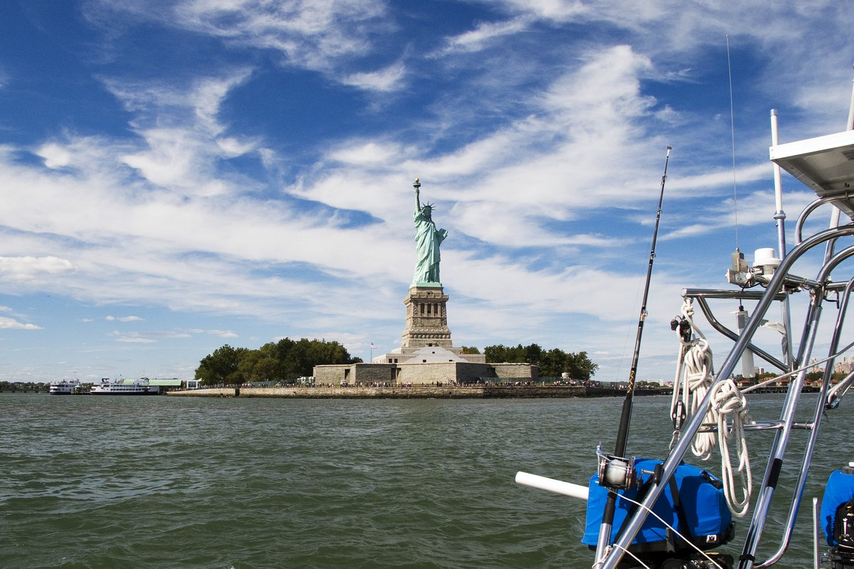 Sailing past the Statue of Liberty, New York