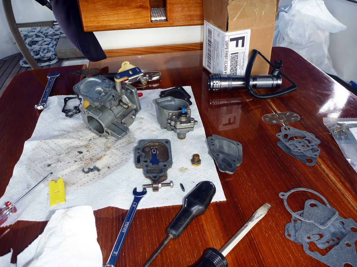 Outboard Carburettor in Pieces