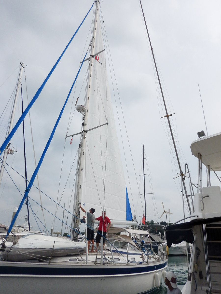 Fitting the new main sail