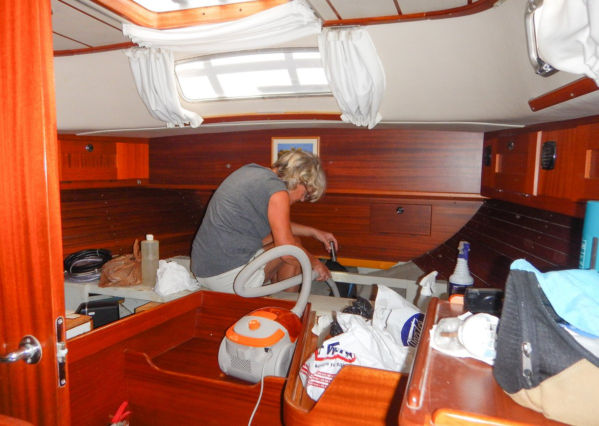 Cleaning the aft cabin bilges