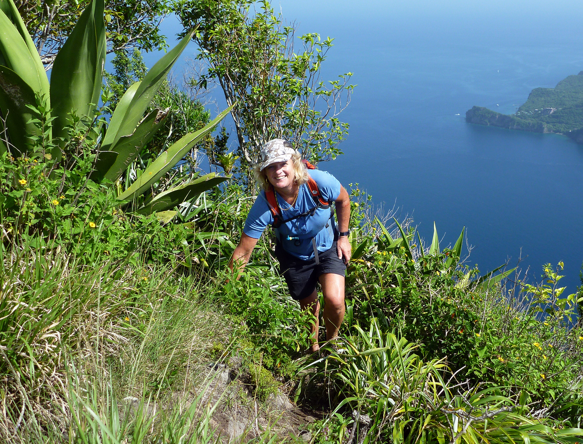 Near the top of the Petit Piton, St Lucia