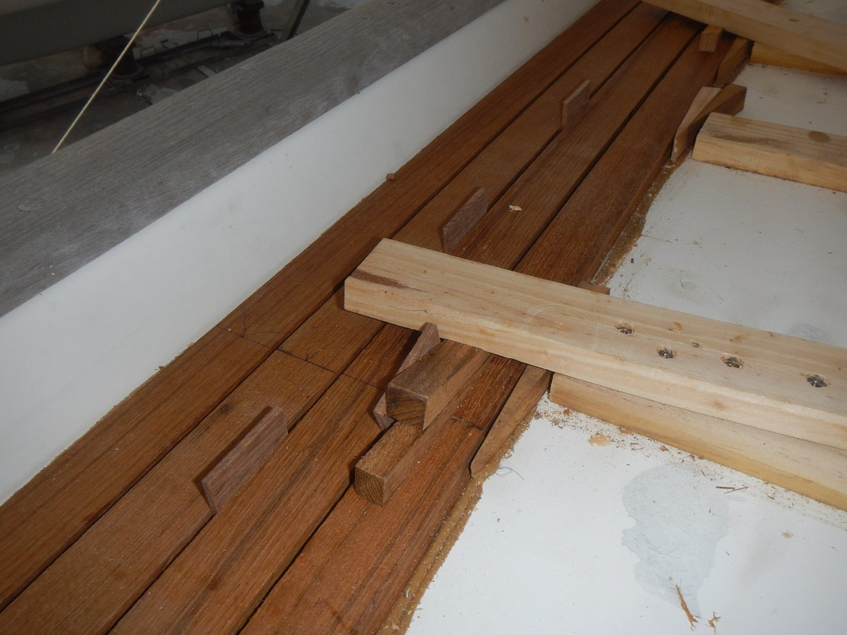 Wedges used to hold the planks in place